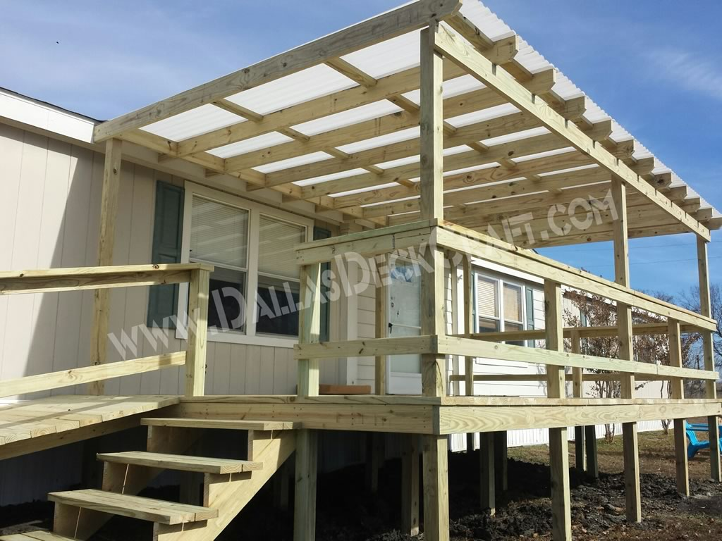 Mobile home steps and porches dallas deck craft Decks and porches for mobile homes