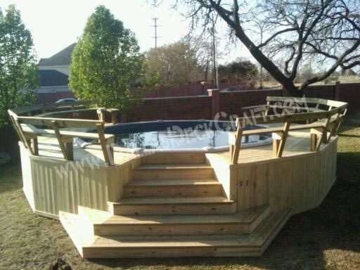 Have an above ground pool deck put in to get the most for Above ground oval pool deck plans