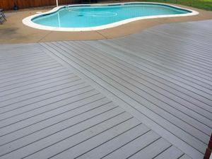 Trex composite deck set at poolside