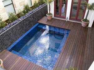 Ipe deck poolside, stained.